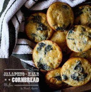 Skinny Jalapeno Kale Cornbread Muffins