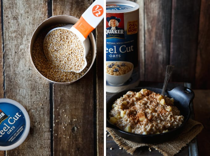 Easy Overnight Vegan Apple Cinnamon Stee Cut Oatmeal | sharedappetite.com