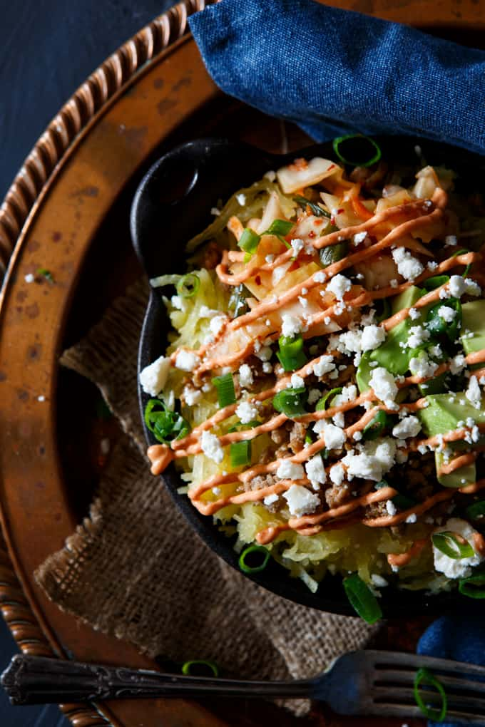 Korean Pork Spaghetti Squash Bowl with Kimchi, Avocado, and Gochujang Aioli | sharedappetite.com