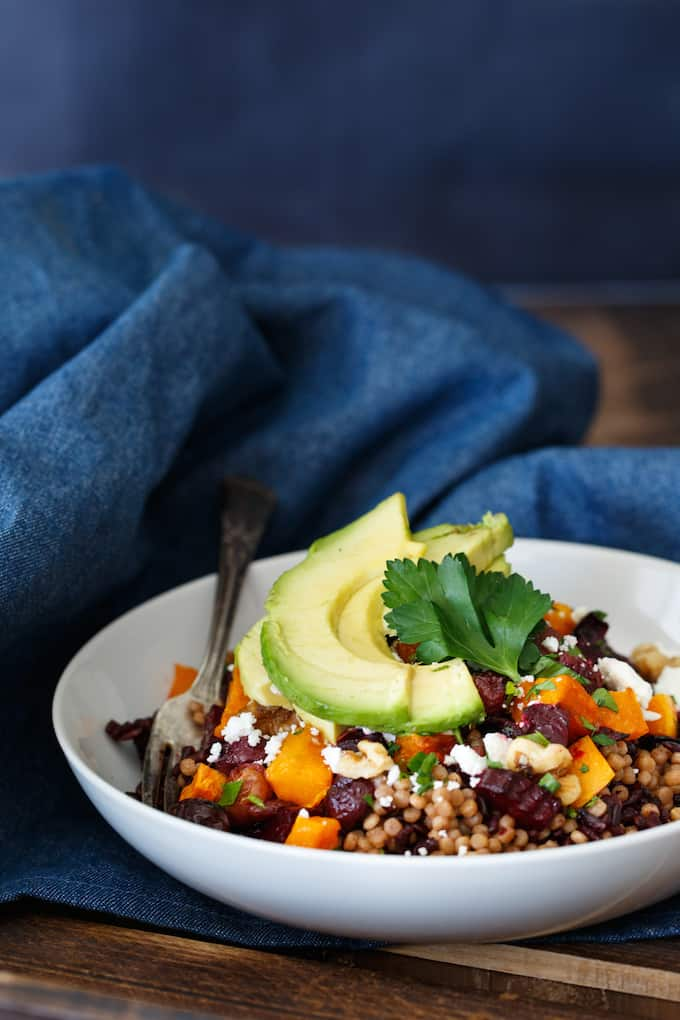 Roasted Vegetable Grain Salad with Avocado, Feta, and Walnut | sharedappetite.com