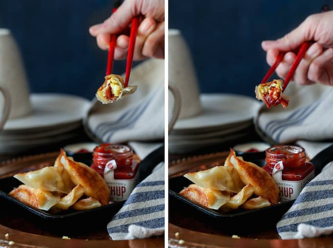 Bacon, Egg, and Cheese Breakfast Wontons | sharedappetite.com