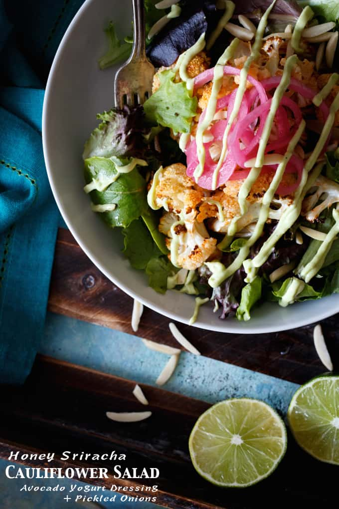 Honey Sriracha Cauliflower Salad with Pickled Onions + Avocado Yogurt Dressing | sharedappetite.com