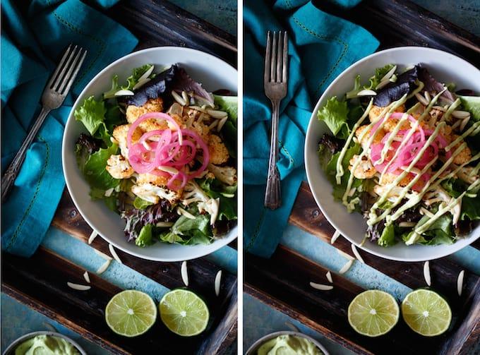Honey Sriracha Cauliflower Salad with Pickled Onions + Avocado Yogurt Dressing | sharedappetite.com