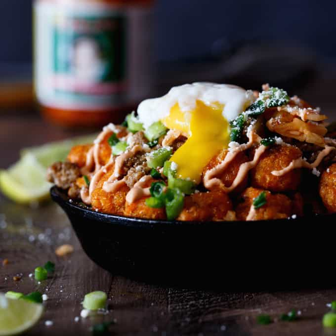 Korean Pork Sweet Potato Totchos - Shared Appetite