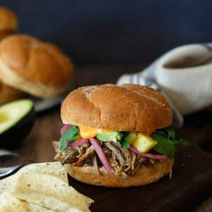 Pulled Pork Banh Mi Sandwich with Pickled Pineapple and Avocado
