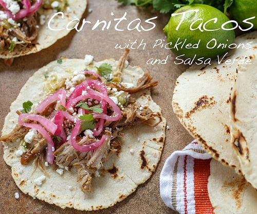 carnitas tacos with pickled onions