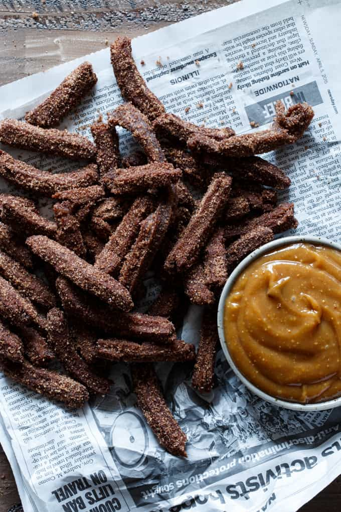 Mini Chocolate Churros with Peanut Butter Dipping Sauce | sharedappetite.com