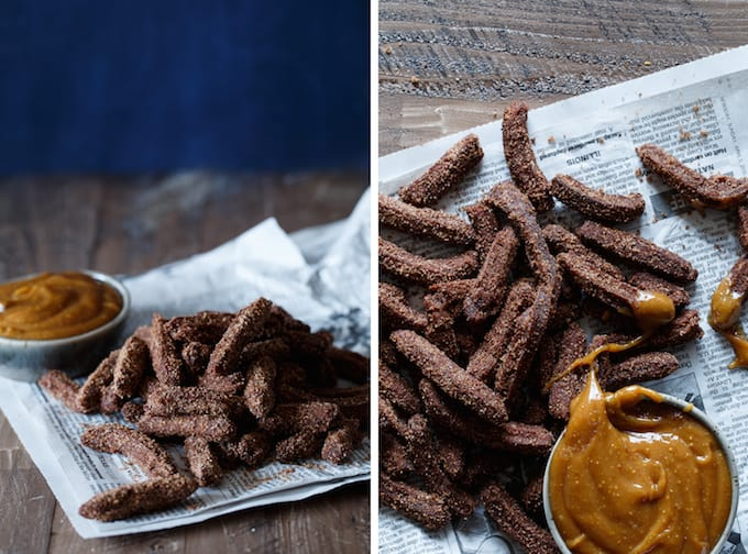 Mini Chocolate Churros with Peanut Butter Dipping Sauce   sharedappetite.com
