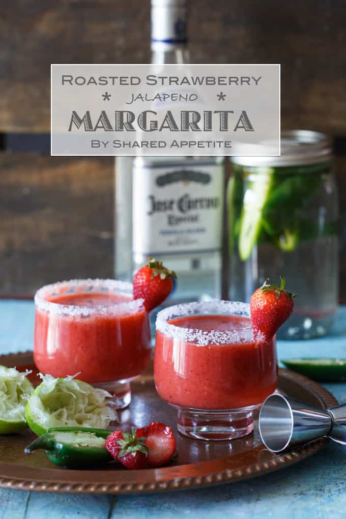 Roasted Strawberry Jalapeno Margarita | sharedappetite.com
