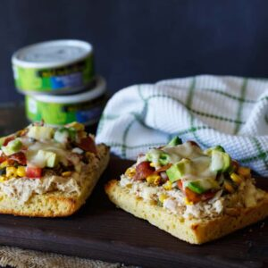 Southwest Tuna Melt with Roasted Corn Poblano Salsa, Avocado, and Bacon | sharedappetite.com #wildcanfan