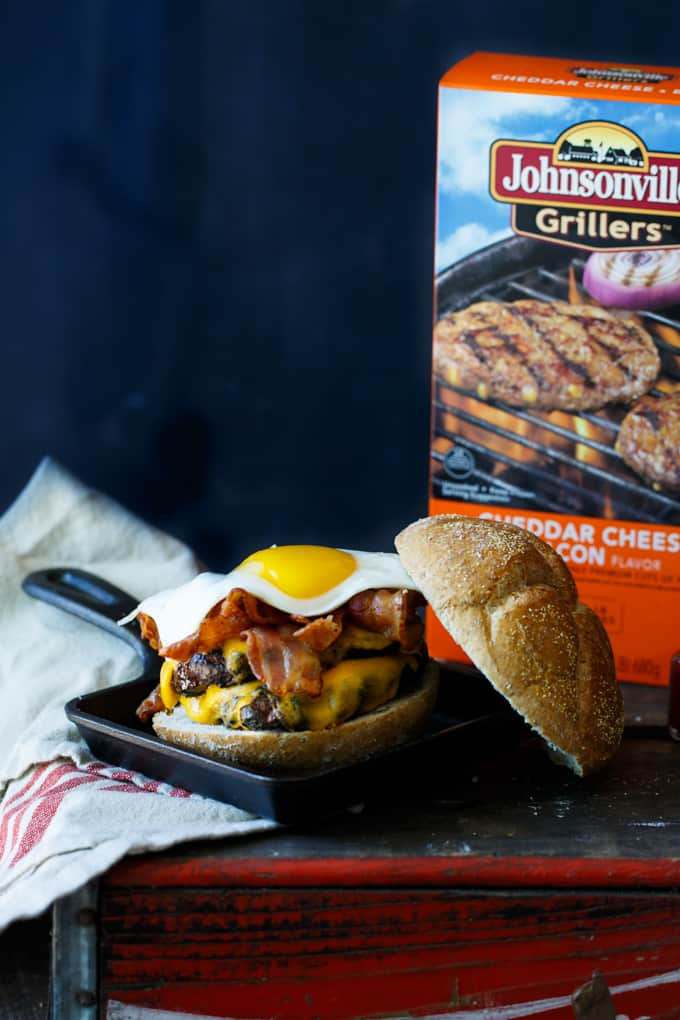 Bacon, Egg, and Cheese Breakfast Burger #SausageFamily   sharedappetite.com