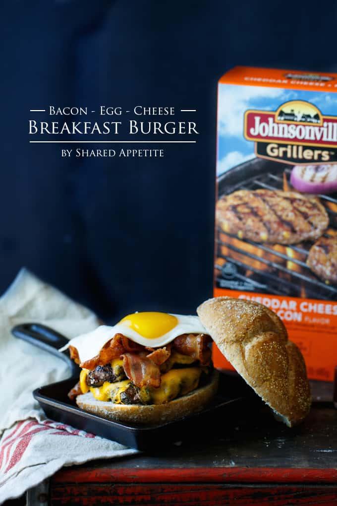 Bacon, Egg, and Cheese Breakfast Burger #SausageFamily | sharedappetite.com