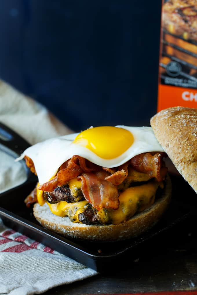 Bacon, Egg, and Cheese Breakfast Burger #SausageFamily | sharedappetite.com