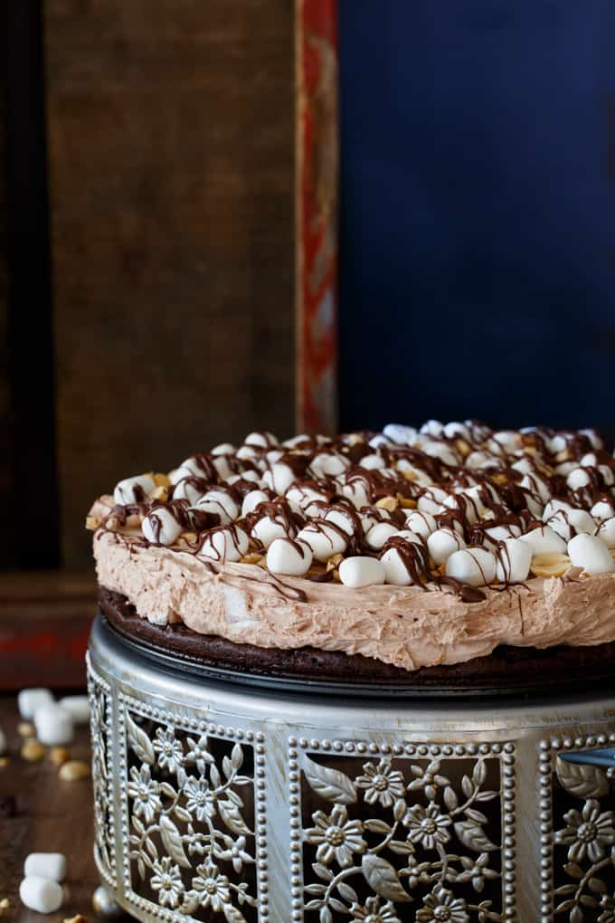 No Bake Rocky Road Cheesecake with a Brownie Crust | sharedappetite.com