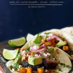 Pork Belly Tacos with Ancho Chili Roasted Pineapple, Avocado, and Pickled Onions | sharedappetite.com
