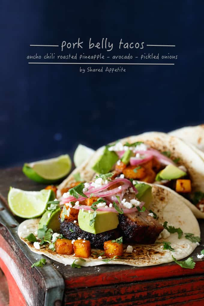 Pork Belly Tacos with Ancho Chili Roasted Pineapple and Avocado