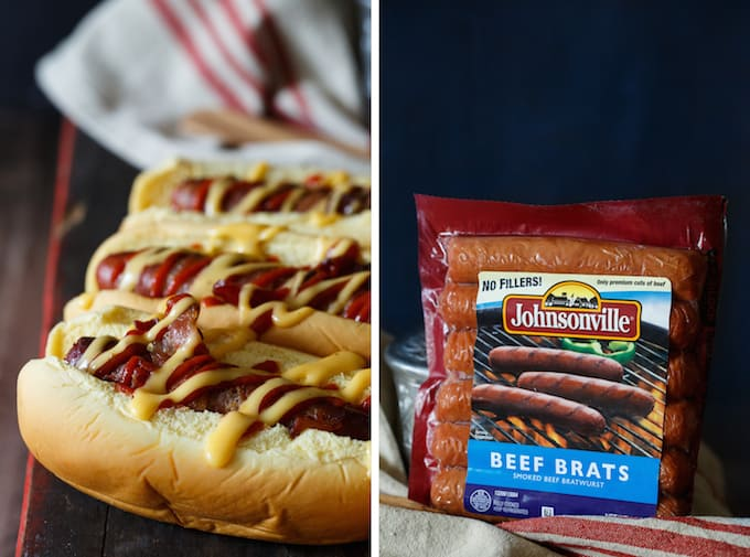 Bacon Wrapped Brats with Cheddar-Beer Sauce and Sriracha | sharedappetite.com