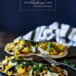 Peach, Corn, + Basil Flatbread with Balsamic Glaze | sharedappetite.com