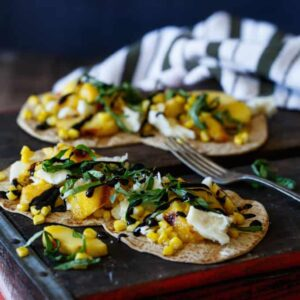 Grilled Peach, Corn, and Basil Flatbread with Balsamic Glaze