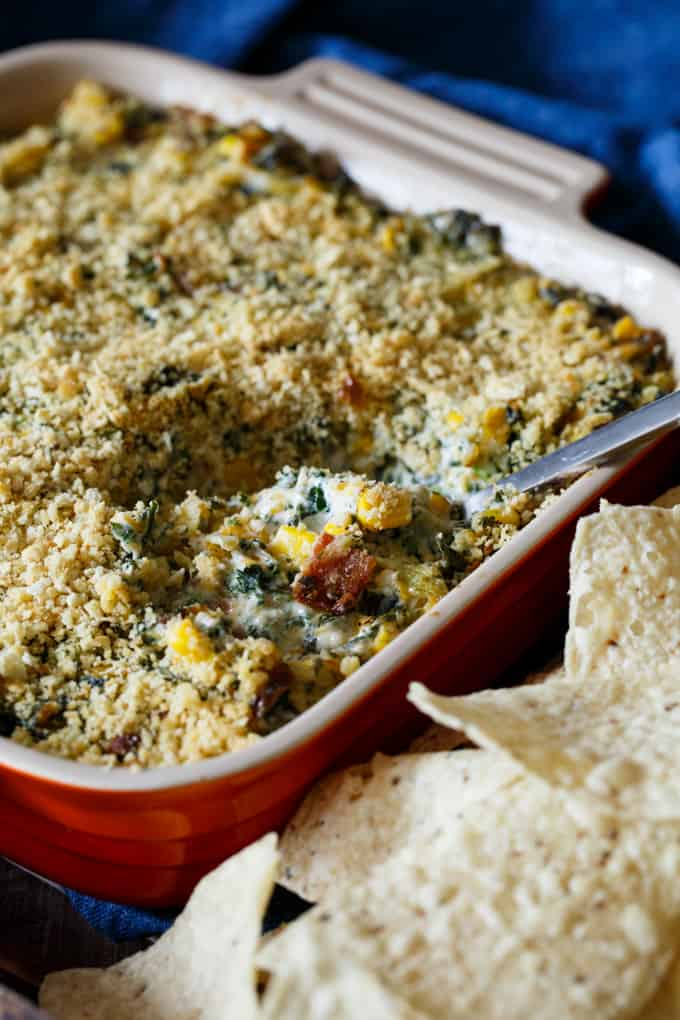 Southwest Kale, Corn, and Bacon Dip | sharedappetite.com