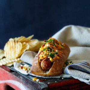 Bacon Mexican Street Corn Hot Dogs | sharedappetite.com