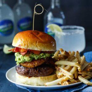 Spicy Roasted Pineapple + Avocado Bacon Burgers | sharedappetite.com