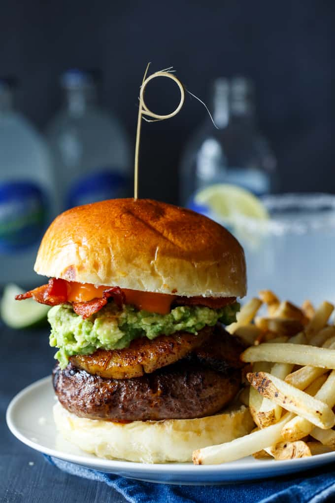 Spicy Roasted Pineapple + Avocado Bacon Burgers | sharedappetite.com