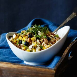 Corn, Blueberry, and Halloumi Grain Salad