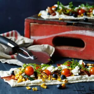 Grilled Summer Vegetable Flatbread with Blueberry + Lemon Ricotta | sharedappetite.com