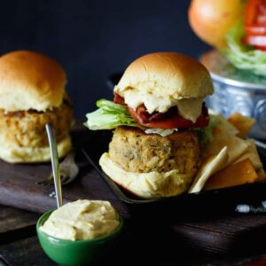 Crab Cake Sandwich with Mango Bacon Aioli | sharedappetite.com