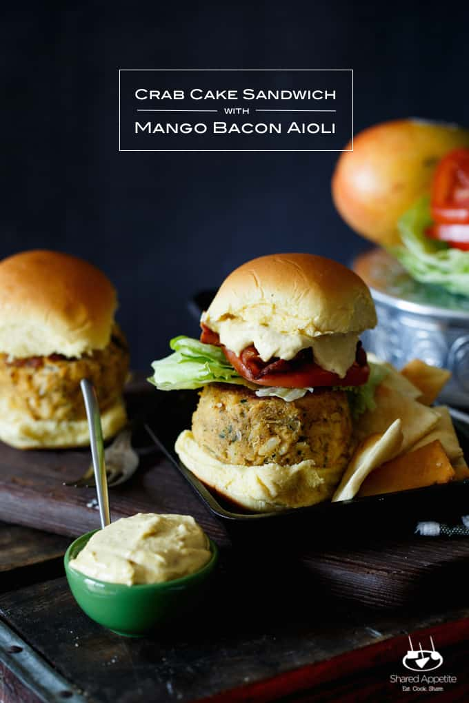 Crab Cake Sandwich with Mango Bacon Aioli | sharedappetite.com