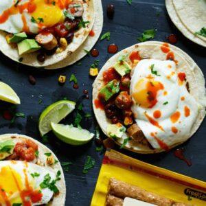 Huevos Rancheros Sausage Breakfast Tacos