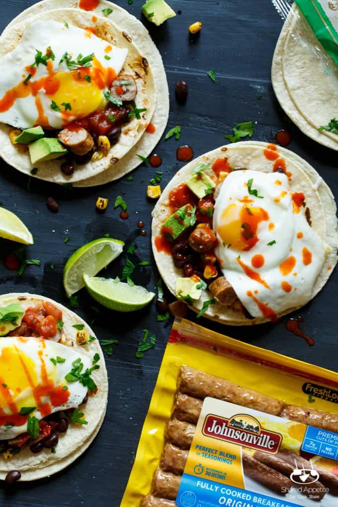Huevos Rancheros Sausage Breakfast Tacos | sharedappetite.com #SausageFamily