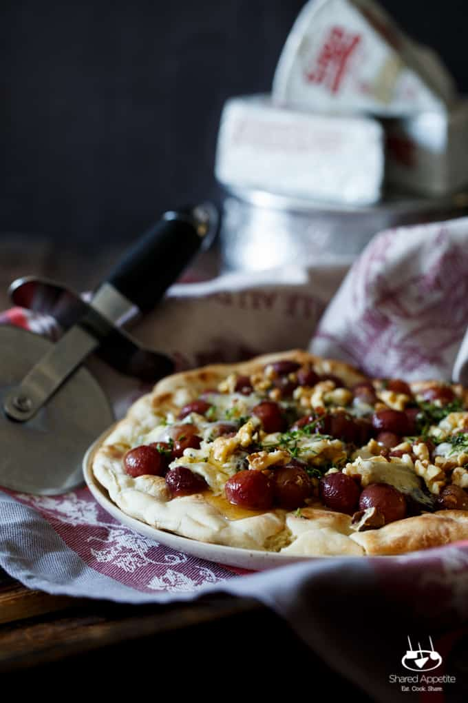 Roasted Grape and Blue Cheese Pizza with Honey, Walnut, and Thyme | sharedappetite.com