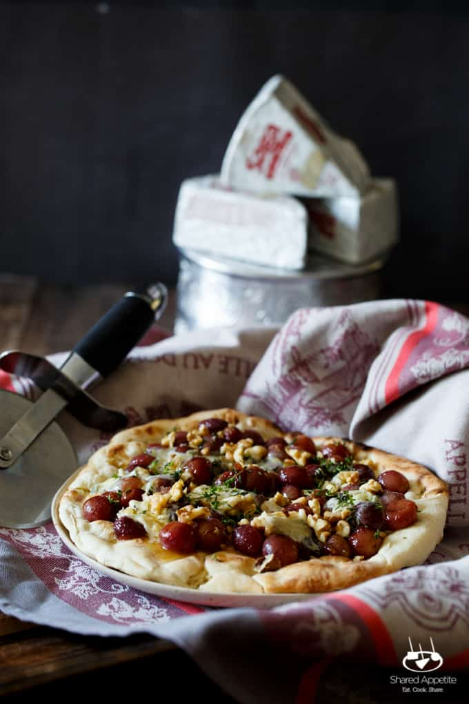 Roasted Grape And Blue Cheese Pizza With Honey Walnut
