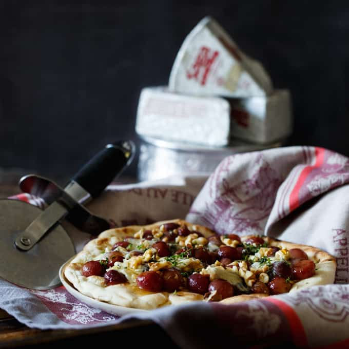Roasted Grape and Blue Cheese Pizza with Honey, Walnut, and Thyme   sharedappetite.com