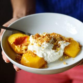 Roasted Peaches with Ricotta Buttercream and Sugared Cornbread Crumbs   sharedappetite.com