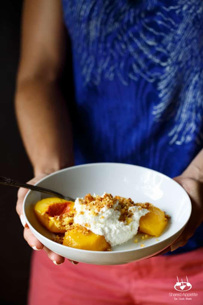 Roasted Peaches with Ricotta Buttercream and Sugared Cornbread Crumbs | sharedappetite.com