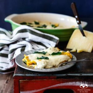 Butternut Squash Manicotti with Parmesan Cream Sauce and Fried Sage | sharedappetite.com
