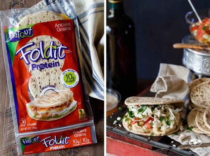 Healthy Mini Vegetarian Greek Sliders with Hummus, Israeli Salad, Pickled Cabbage, and Tahini Sauce | sharedappetite.com