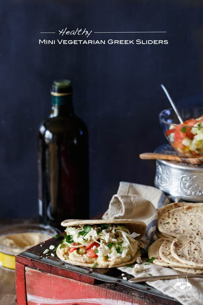 Healthy Mini Vegetarian Greek Sliders with Hummus, Israeli Salad, Pickled Cabbage, and Tahini Sauce | sharedappetite.com