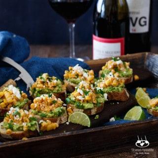 Mexican Street Corn + Avocado Crostini   sharedappetite.com