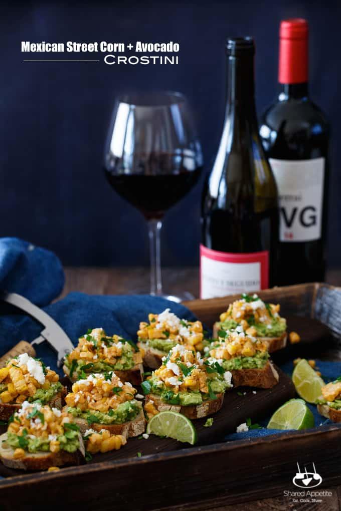 Mexican Street Corn + Avocado Crostini | sharedappetite.com