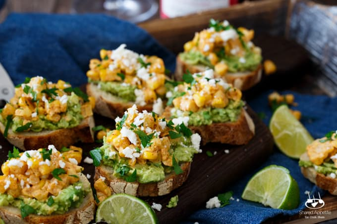 Mexican Street Corn + Avocado Crostini | sharedappetite.com
