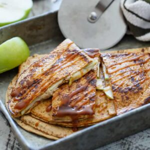 Caramel Apple Cheesecake Quesadillas | sharedappetite.com