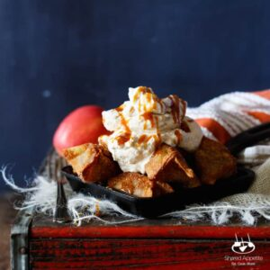 Apple Pie Wontons with Salted Caramel Whipped Cream | sharedappetite.com