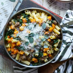 Pasta with Sausage, Roasted Butternut Squash, and Kale