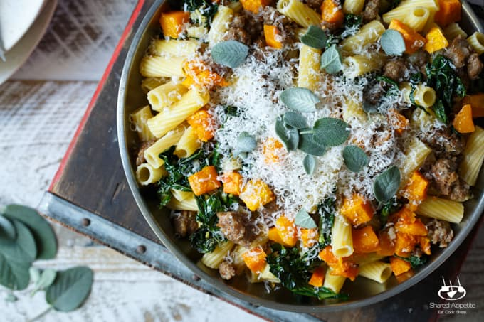 Pasta with Sausage, Roasted Butternut Squash, and Kale - Shared ...