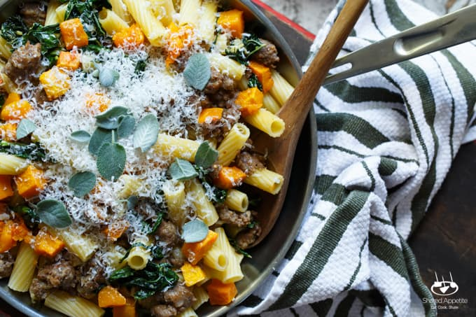 Pasta with Sausage, Roasted Butternut Squash, and Kale | sharedappetite.com #SausageFamily