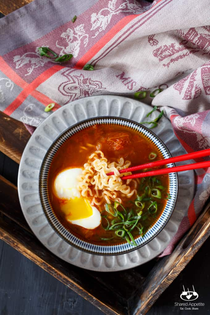 Spicy Korean Kimchi Ramen with Pork Belly, Scallion and Poached Egg   sharedappetite.com